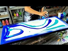 Cresting Wave Blow Out with Real Brush Pen Embellishments / Acrylic Pouring / Fluid Art Acrylic Painting For Kids, Acrylic Paint Pens, Flow Painting, Acrylic Painting Tutorials, Pour Painting, Acrylic Pouring Techniques, Acrylic Pouring Art, Large Canvas Art, Diy Canvas Art