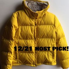 Yellow prada puffer coat 3 inner pockets and 2 outer. Bright yellow nylon shell in perfect condition. Inner lining near hood will need cleaning (pictured). Hooded Prada Jackets & Coats Puffers