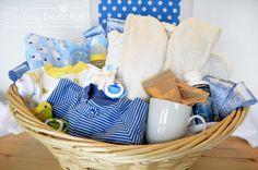 Up All Night Gift Basket---For new parents and baby that focuses on the fun the new parents (especially the mom) will get to have by being up all night!  Oh joy, right!? Free gift tag to download.