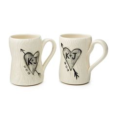 Personalized Porcelain Faux Bois Mug Set, $72, by Gina DeSantis