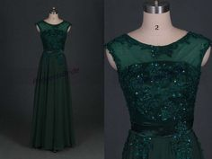 2014 forest green chiffon prom dresses with applique lace,chic floor length gowns for holiday party,latest cheap bridesmand dress under 150....