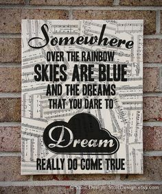 Somewhere Over the Rainbow  Wizard of Oz / Lyrics by StoicDesign, $39.00