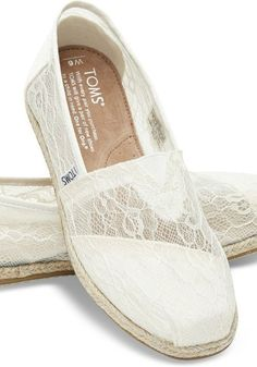 When it comes to your wedding day, it's all in the details. These white lace slip-ons are casual yet ultra romantic, a great addition to perfect your wedding look. #weddingshoes