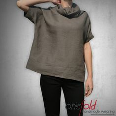 grey linen blouse with funnel