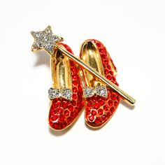 Vintage Dorothy Wizard of Oz Ruby Red Slippers and Magic Wand Brooch Sparkling Rhinestones Figural Novelty