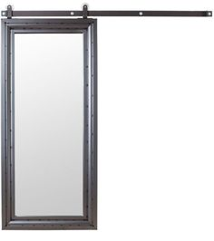 A full length mirror with a rustic frame brightens up any space. Personalize it with a custom finish of your choice. Shown with our Stain + Clear Coat finish. Box Track hardware system with Concord pull in a Flat Black finish. Choose between a double or single sided mirror. Designed & Crafted entirely in the...