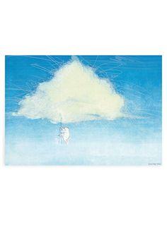 Poster klimmen naar een Wolk A2. Poster met illustratie van Marije Tolman Uit het boek Het Eiland. afmeting: 42 x 59,4 cm. Kinderposter kinderkamerposter babykamerposter decoratie kinderkamer babykamer