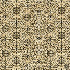 Garden Hideaway Quilting Fabric Vintage Ironwork - Dark Tan/Black