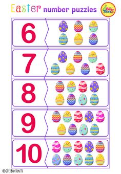 Easter themed Preschool Printables - Free worksheets, number puzzles - tracing letters, numbers and other activities - fun learning by BonTon TV Preschool Math Games, Preschool Lesson Plans, Preschool Learning, Activities, Fun Learning, Easter Printables, Preschool Printables, Numbers For Kids, Math Projects