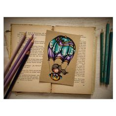"""Nel blu dipinto di blu"" stamp colored with Prismacolor pencils on Kraft paper Bazzill - by Alberto Gava"