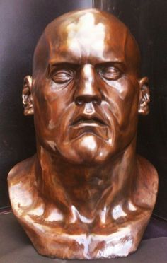 #Bronze #sculpture by #sculptor Marc Bodie titled: 'Underdog (Large Powerful Face with Broken Nose statue)'. #MarcBodie