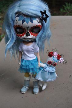 santina day of the dead blythe, tiny dolly by Devout Dolls