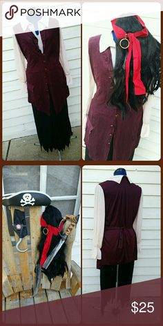 Pirates of the Carribean Costume Pirates of the Carribean costume in good previously worn condition. Black elastic waist pants, tunic top with attached vest that buttons, black wig with red sash and gold tone clip-on hoop earring. I purchased addition accessories as shown which I will include for free. (eye patch, hook, hat, and sword which is now broke in half) Pirates of the Carribbean Other