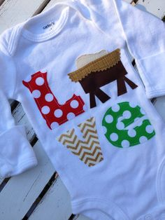 Away In A Manger, shirt or bodysuit for girls with the true reason for the season, Jesus' birth.  By Darling Little Bow Shop
