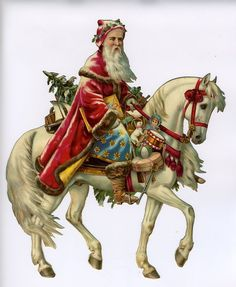 Father Christmas Santa rides a white horse