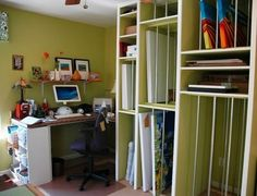 studio- art storage. we need to build vertical storage for canvases into our closet too.