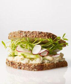Smashed white bean, cucumber, and radish sandwich