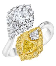 Yellow and White Opposite Diamond Engagement Ring. Using the contrast to enhance the yellow color and impression