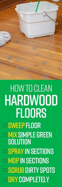 When cleaning hardwood floors, it's important to use a cleaner that won't damage the finish or the surface of the wood. Simple Green All-Purpose Cleaner is gre Safe Cleaning Products, Cleaning Hacks, Spring Cleaning List, Clean Hardwood Floors, Sweep The Floor, All Purpose Cleaners, Keep It Cleaner, Biodegradable Products, Surface