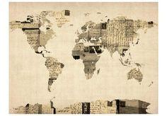 Murando, Fototapeta, The map of the World-old letters, 350x270 cm - Murando , tylko w empik.com: 686,82 zł. Przeczytaj recenzję Murando, Fototapeta, The map of the World-old letters, 350x270 cm. Zamów dostawę do dowolnego salonu i zapłać przy odbiorze!