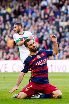 Arda Turan of FC Barcelona reacts during the La Liga match between FC Barcelona and Granada CF at Camp Nou on January 9, 2016 in Barcelona, Catalonia.