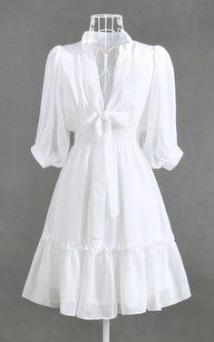 Soft Feminine Clothing | ... Soft Feminine Deep V Ribbon Chiffon Dress | GlamUp - Clothing on