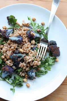 Farro with Balsamic Roasted Purple Cauliflower, Arugula, and Toasted Chickpeas