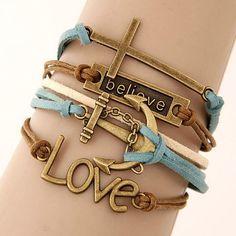 Charm Vintage Multilayer Charm Leather Bracelet Women Owl Cross Bracelets Jewelry for Best Friends Gift