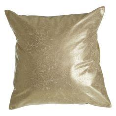 Kensington Townhouse Cushion, Crush Leather Effect / Silver, Cotton Mix