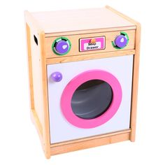 Laundry time is fun when this wooden washing machine is part of the play kitchen. Brightly finished and with a realistic drum, just be careful it's not in the middle of the cycle when opening the door! The are two realistic dials that twist and even a little soap loading drawer. An excellent and highly educational item that's ideal for interactive or solo role play sessions. Ages 3 years and up. 1 play piece. Requires adult assembly. http://shop.bigjigstoys.co.uk/p/pink-green-washing-machine