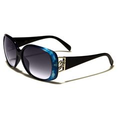 Giselle Womens Oval Plastic Sunglasses Marbled Blue with Gray Lenses