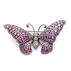 Pre-owned 18k Gold Pink Sapphire and 8 1/3ct TDW Diamond Butterfly Pin (H-I, VS1-VS2) - Overstock™ Shopping - Top Rated Estate and Vintage Brooches & Pins