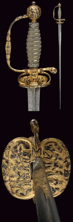 A gilded small-sword,    provenance:	 	France dating:	 	18th Century. Https://darksword-armory.com