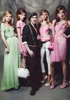 John Galliano and models in Harper's Bazaar December 2010