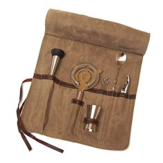 If Dad is your favorite bartender, this is a great gift! Everything a bartender could need is safely stored in a canvas and leather roll-up bag. #FathersDay