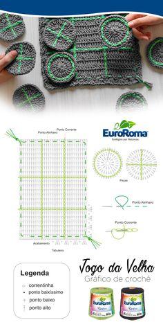 Divirta-se com o Jogo da Velha em Crochê, uma ótima opção para divertir as crianças com os barbantes ecológicos EuroRoma.