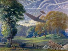 Southern England: Spitfires attacking Flying Bombs 1944, by Thomas Monnington. (Image: Persephone Post/Imperial War Museum.)