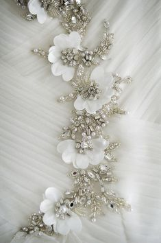 Wedding dress detail www brillpix com Pearl Embroidery, Tambour Embroidery, Bead Embroidery Patterns, Embroidery On Clothes, Couture Embroidery, Silk Ribbon Embroidery, Embroidery Fashion, Hand Embroidery Designs, Embroidery Stitches