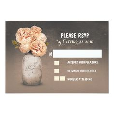 Painted mason jar cute wedding RSVP cards