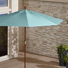9' Round Sunbrella ® Mineral Blue Patio Umbrella with FSC Eucalyptus Frame | Crate and Barrel
