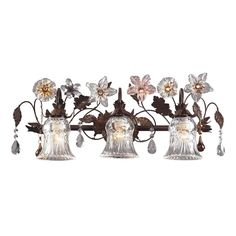 Cristallo Fiore 3 Light Vanity In Deep Rust With Crystal Florets