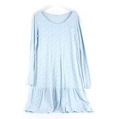 Vestido de algodón de manga larga, azul celeste con estampado de mini flores. Talla única.