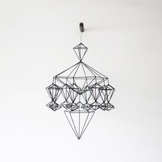 himmeli no. 8 - hanging mobile - modern mobile - sculpture - geometric - black - finnish design - home decor Mobile Sculpture, Geometric Sculpture, Hanging Mobile, Minimalist Home Decor, Handmade Ornaments, Home Decor Furniture, Geometric Shapes, B & B, Etsy Shop