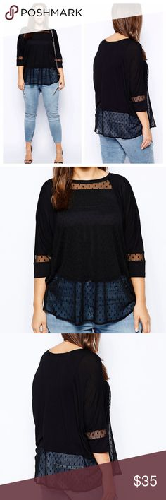 Asos Black Swing Top Worn once. Asos black swing top. The top is lined till about waistline. No rips, stains or tears. Reasonable offers considered through offer button only NO TRADES ASOS Curve Tops