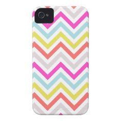 Bright Colorful Modern Chevron Stripes iPhone 4 Case