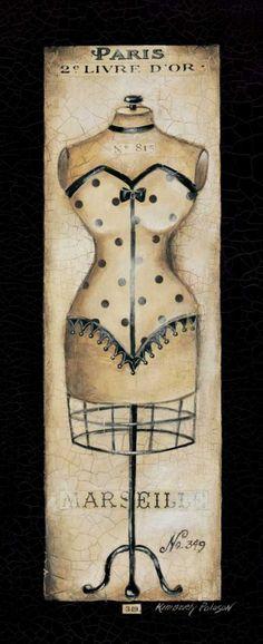 Paris No 349 by Kimberly Poloson art print Vintage Diy, Vintage Images, Vintage Sewing, Vintage Corset, Vintage Labels, Illustrations Vintage, Illustration Art, Image Deco, Couture Vintage