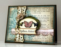 "♥♥♥ this beautiful shabby chic card by Melissa Huie, featuring the Stampin' Up! stamp set ""Kindness Matters""."