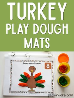 These Turkey Play Dough Math Mats are a fun way to practice counting this Thanksgiving! Kids can make turkey feathers with play dough to place on the turkey while they count. Some of my readers Thanksgiving Placemats, Thanksgiving Crafts For Toddlers, Thanksgiving Preschool, Holiday Activities, Preschool Activities, Family Activities, Play Dough, Turkey Feathers, Decoration