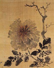 (Korea) Peony by Pyoam Gang Se-hwang (1713- 1791). color on paper. Korean painting.