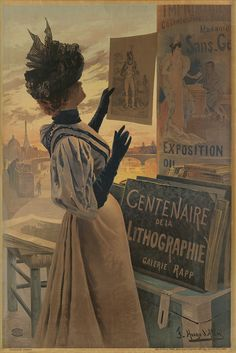 A poster for the centennial exhibition of Lithography at the Galerie Rapp, Paris, in 1895 Woman Painting, Painting & Drawing, Painting Prints, Art Prints, Paintings, Victoria And Albert Museum, Belle Epoque, Vintage Prints, Vintage Posters